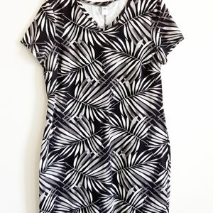 Black and White Palm Leaf Cotton T  Dress Old Navy